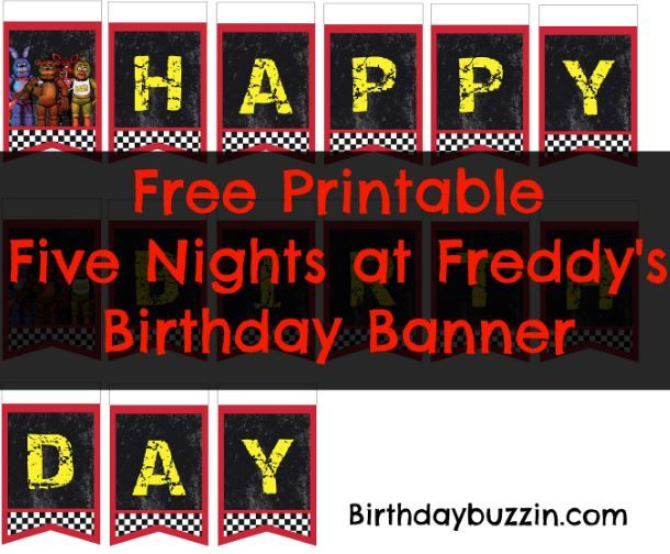 free printable five nights at freddy s birthday banner kids
