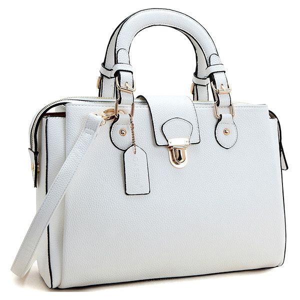 34257ba7b4 Womens Dasein handbag Snap Lock Satchel ($35) ❤ liked on Polyvore featuring  bags, handbags, white, kiss-lock handbags, over the shoulder handbags, ...