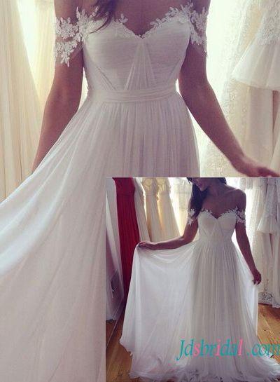 Trending H Ethereal flowy chiffon boho beach wedding dress