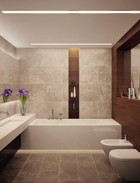Wunderbar Bad Modern Gestalten Mit Licht_modernes Badezimmer Mit Eingebauten  Deckenleuchten Und Holzwandverkleidung