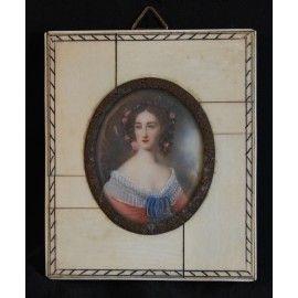Miniatura, ritratto di dama, olio su avorio, fine XIX