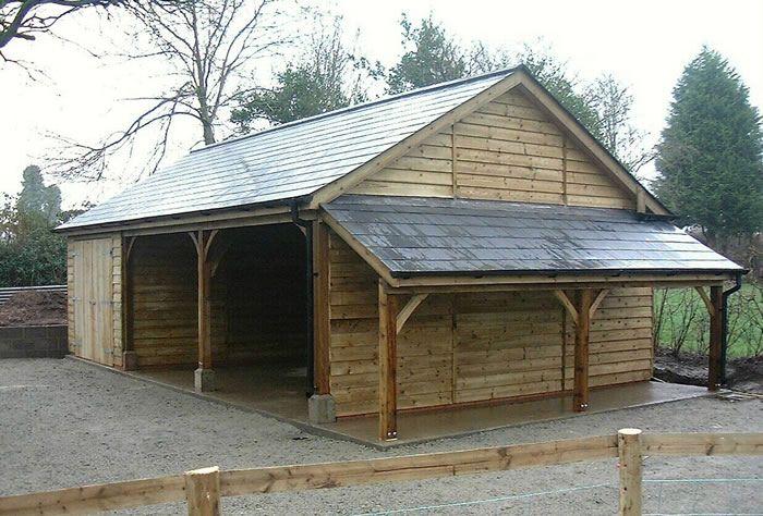 Carport En Garage : Classic carport garage with lean to log store fibre cement