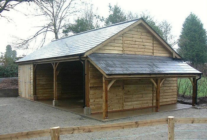 Best Classic Carport Garage With Lean To Log Store Fibre 400 x 300