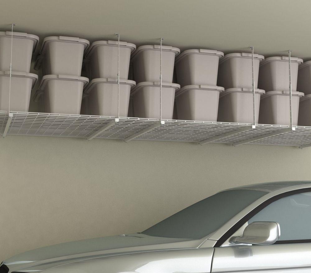 Storage Shelf Ceiling Garage Overhead Wire Raises Rack
