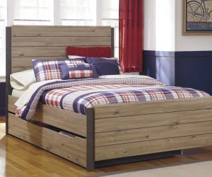 Dexifield Contemporary Beige Brown Wood Queen Bed Queen Trundle