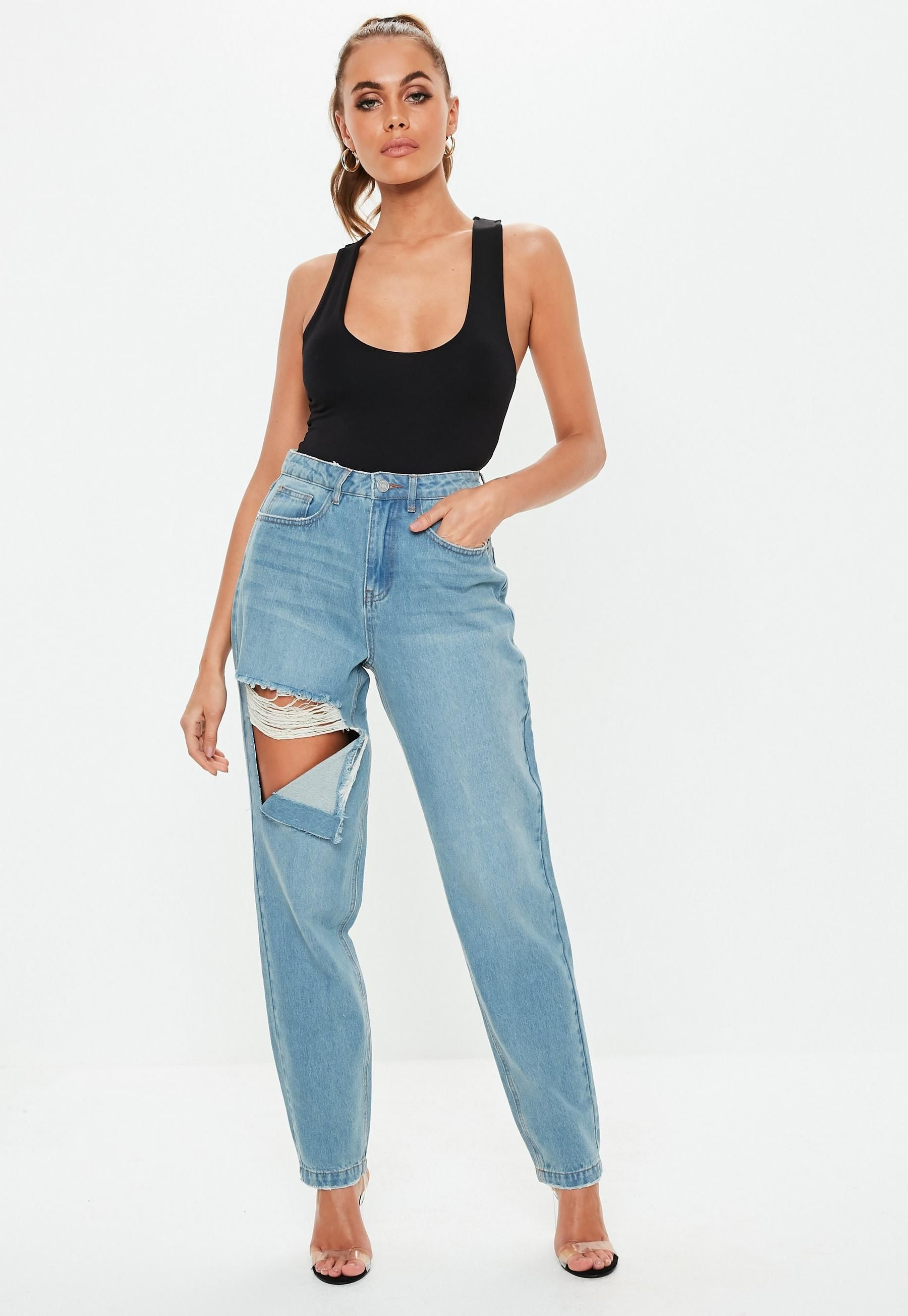 a6042226011d70 Petite Blue Riot Stone Wash Ripped Thigh High Waisted Mom Rigid Jeans |  Missguided