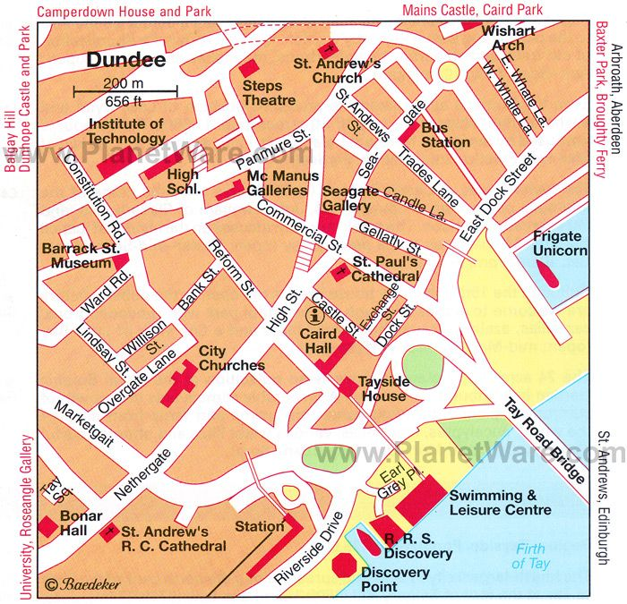 Map of Dundee Tourist Attractions PlanetWare Scotland