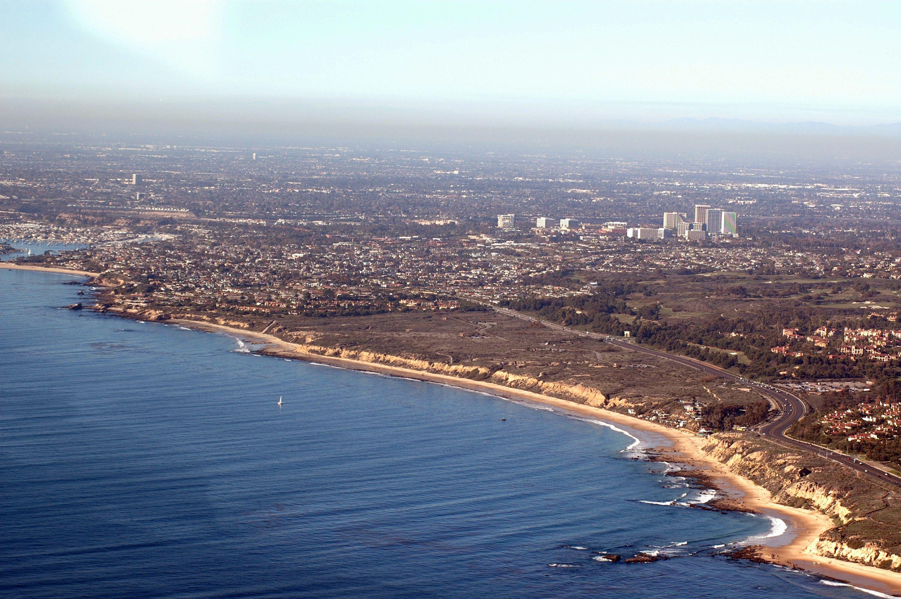 Aerial view of the coast of newport beach ca photo