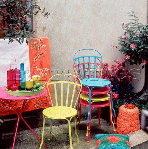 Bright Patio Furniture Colorful Garden
