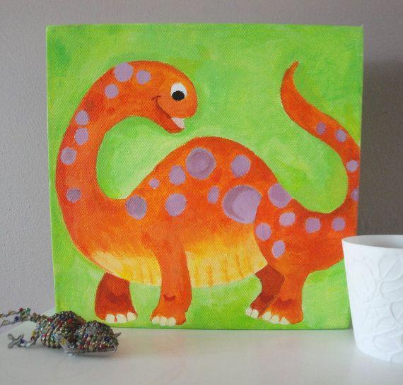 colourful dinosaur children\'s wall art / by giraffeillustration ...