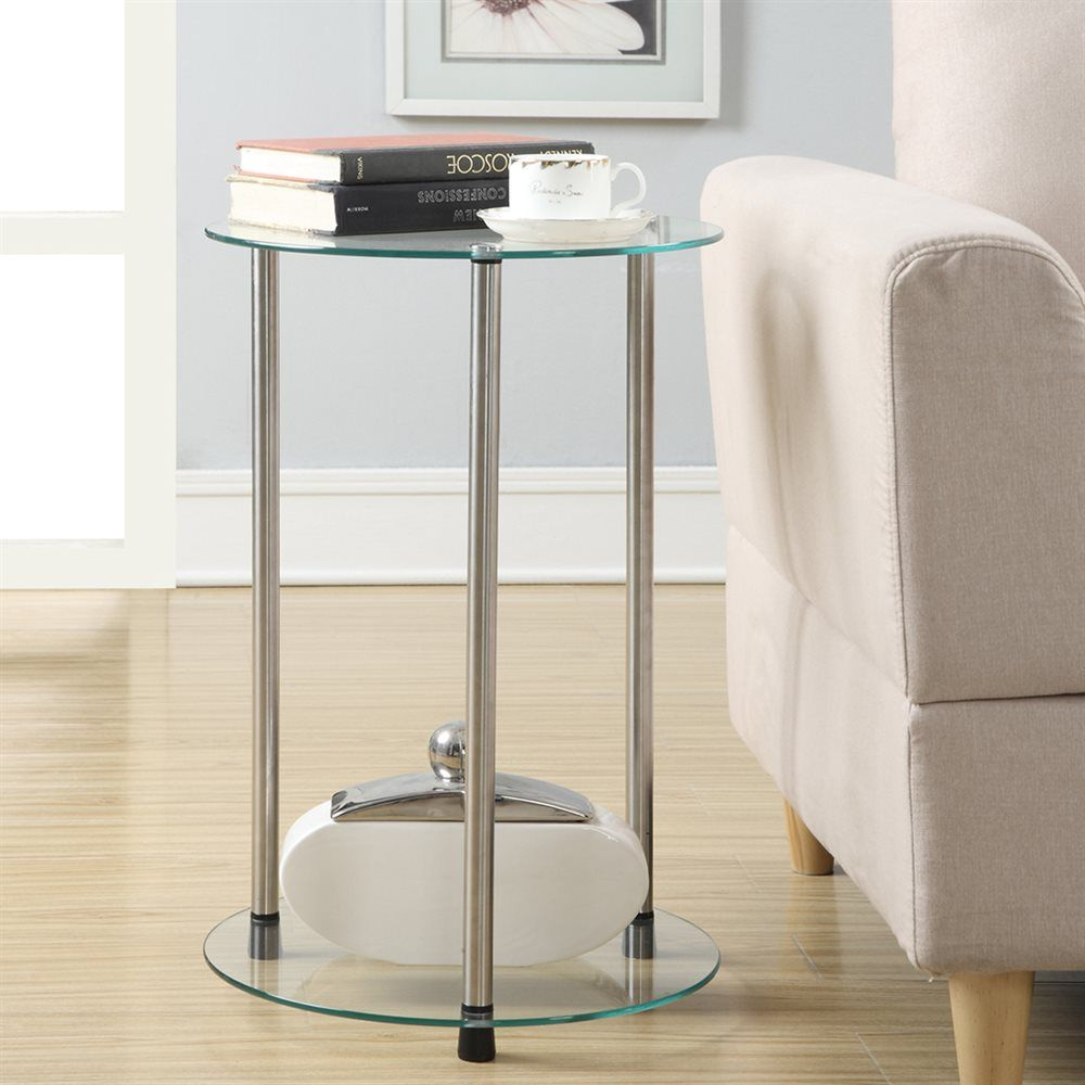 Convenience Concepts 157008 Designs2go 2 Tier Round End Table Atg Stores Living Room Side Table Glass End Tables Modern Shelving