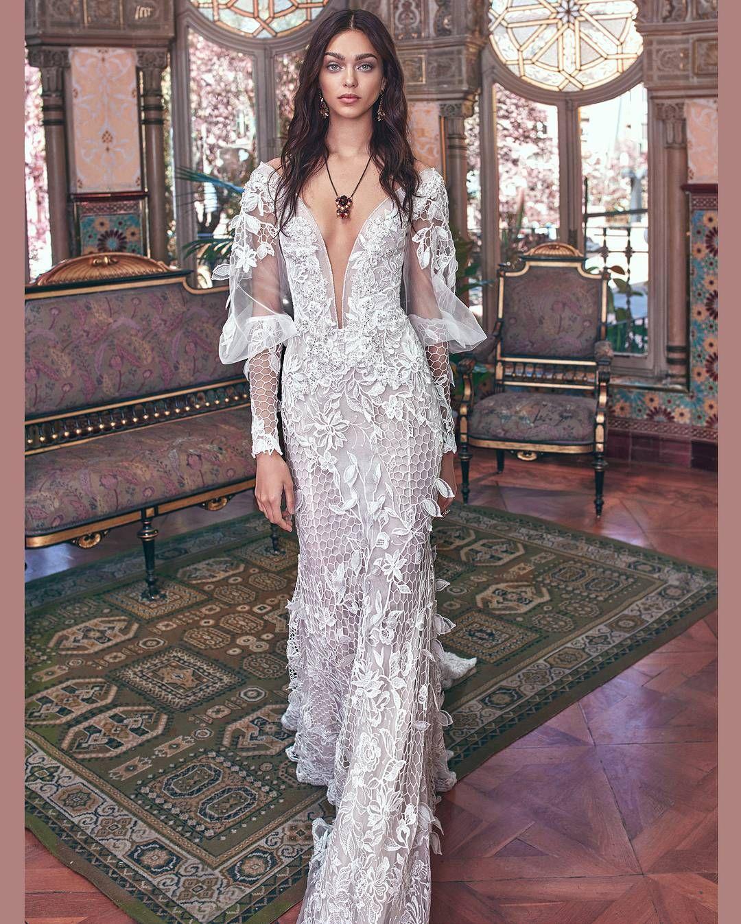 "d3c03c0a75c1 White lace long sleeved bridal gown for  galialahav Credit to  aGalia Lahav  ( galialahav) on Instagram  "" WeddingGoals for 2018."""