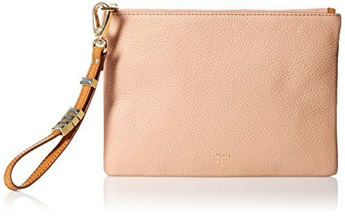 Fossil Small Wristlet, Shell. Warranty: 1 year limited. Exterior details: 1 top zipper pocket, 1 front zipper pocket. Interior details:  3 credit card slots.