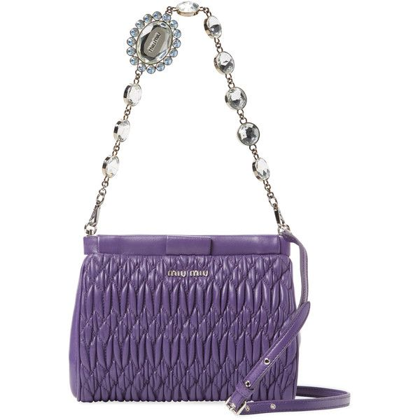 15a674220095 Miu Miu Women s Cloquet Nappa Leather Crystal Mini Convertible Clutch  ( 899) ❤ liked on
