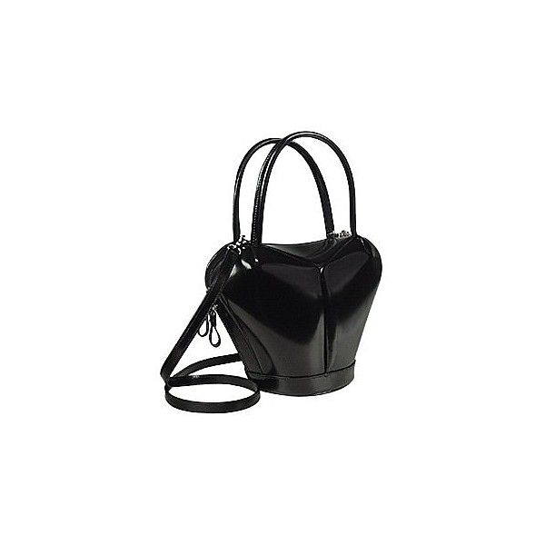 Fontanelli Handbags Dramatic Black Italian Leather Handbag 21 510 Rub Liked On Polyvore Featuring