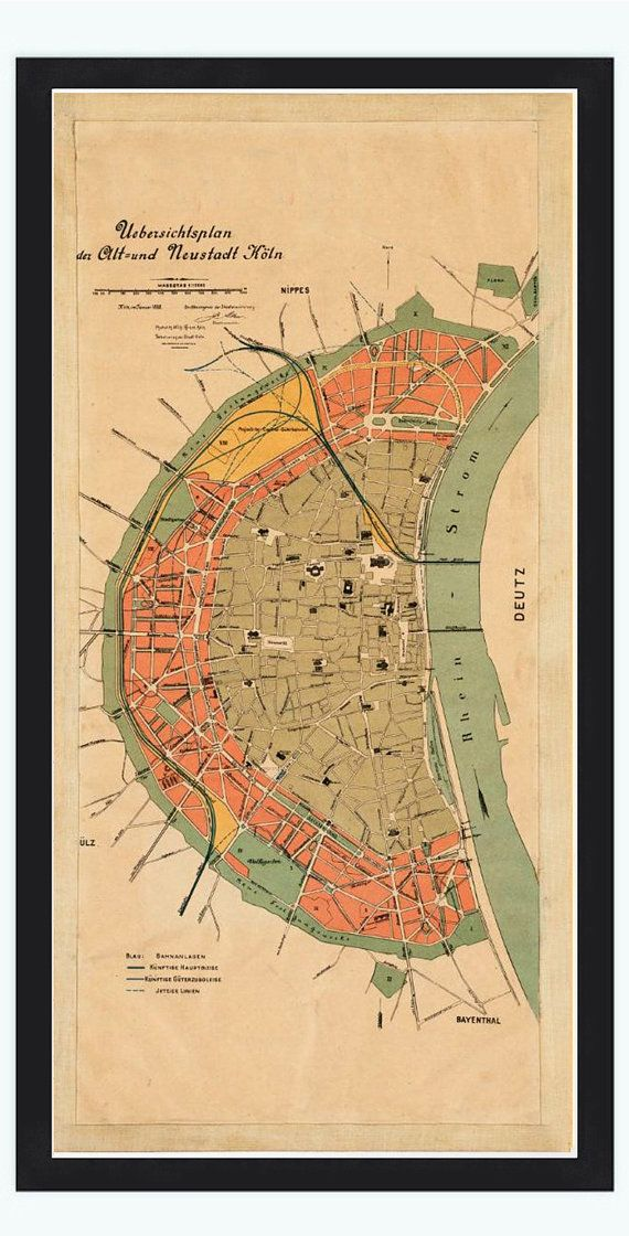 Old Map of Koln Cologne Germany 1888 by OldCityPrints on ...