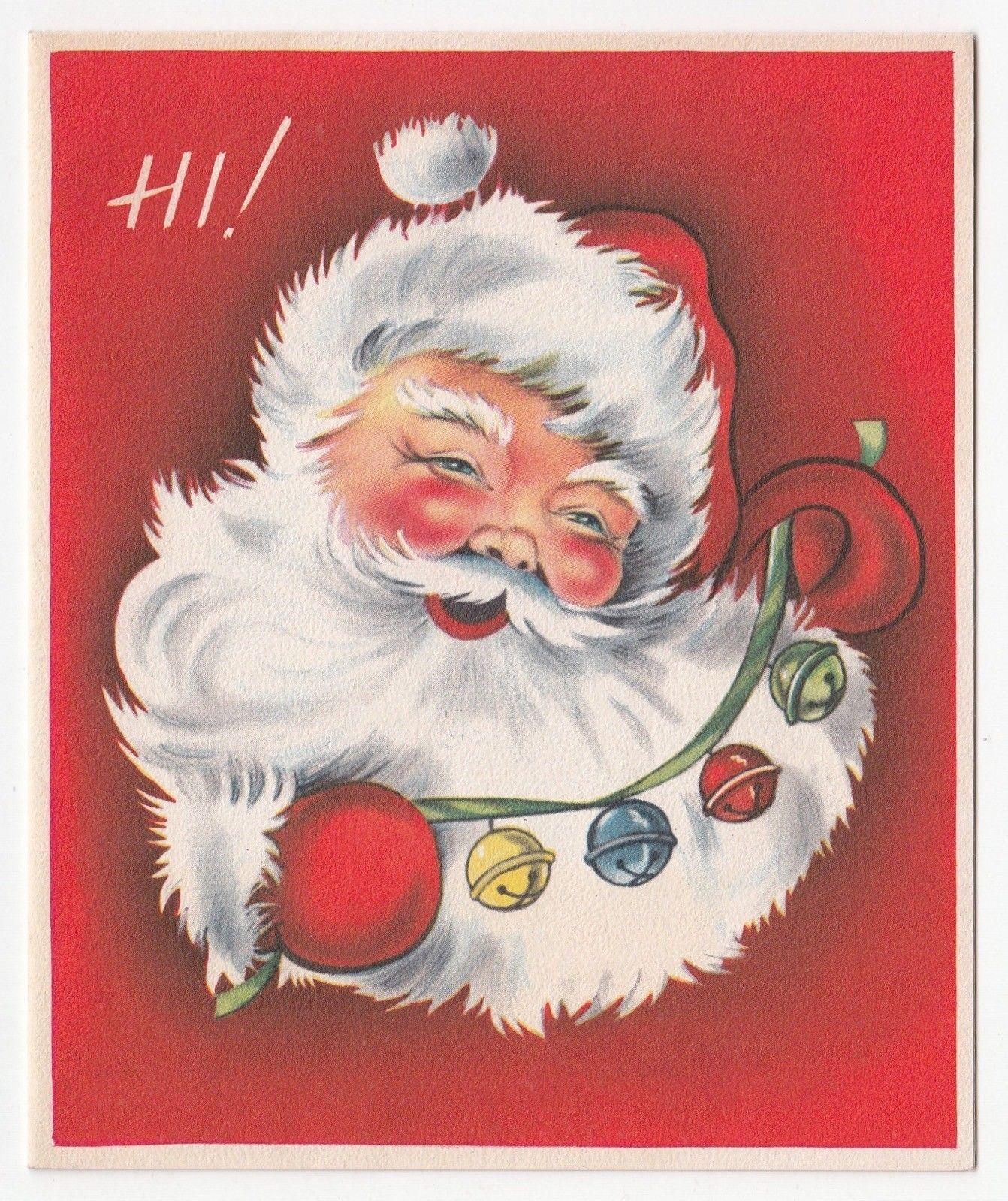 Vintage Greeting Card Christmas Santa Claus Jingle Bells Reindeer Sleigh Inside | Vintage ...