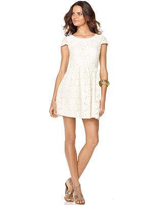 a6a31a5c56 Kensie Dress, Scoop Neck Short Sleeve Lace A Line - Womens Dresses - Macy's  Cute for lauren