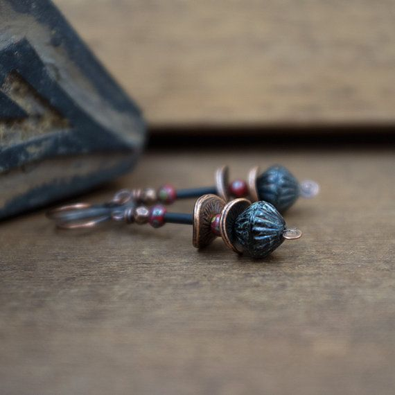 Rustic Tribal earrings • Glass and Copper • Black and Red • Small Earrings • Ethnic Jewelry • Picasso Czech Glass • Oxidized • Dark