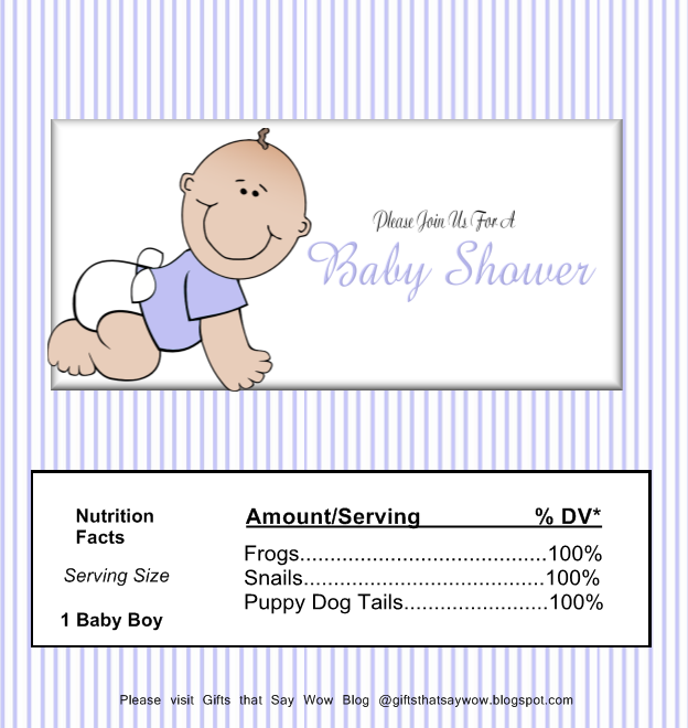 image relating to Free Printable Baby Shower Candy Bar Wrappers named Items That Say WOW: Absolutely free Printable Child Boy Sweet Wrapper