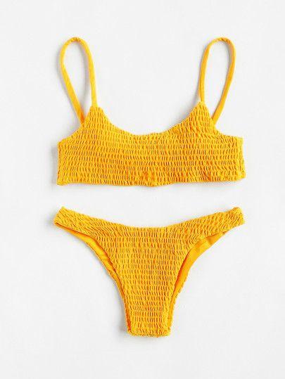 688dace10adb Shop Push Up Shirred Bikini Set online. SheIn offers Push Up Shirred ...
