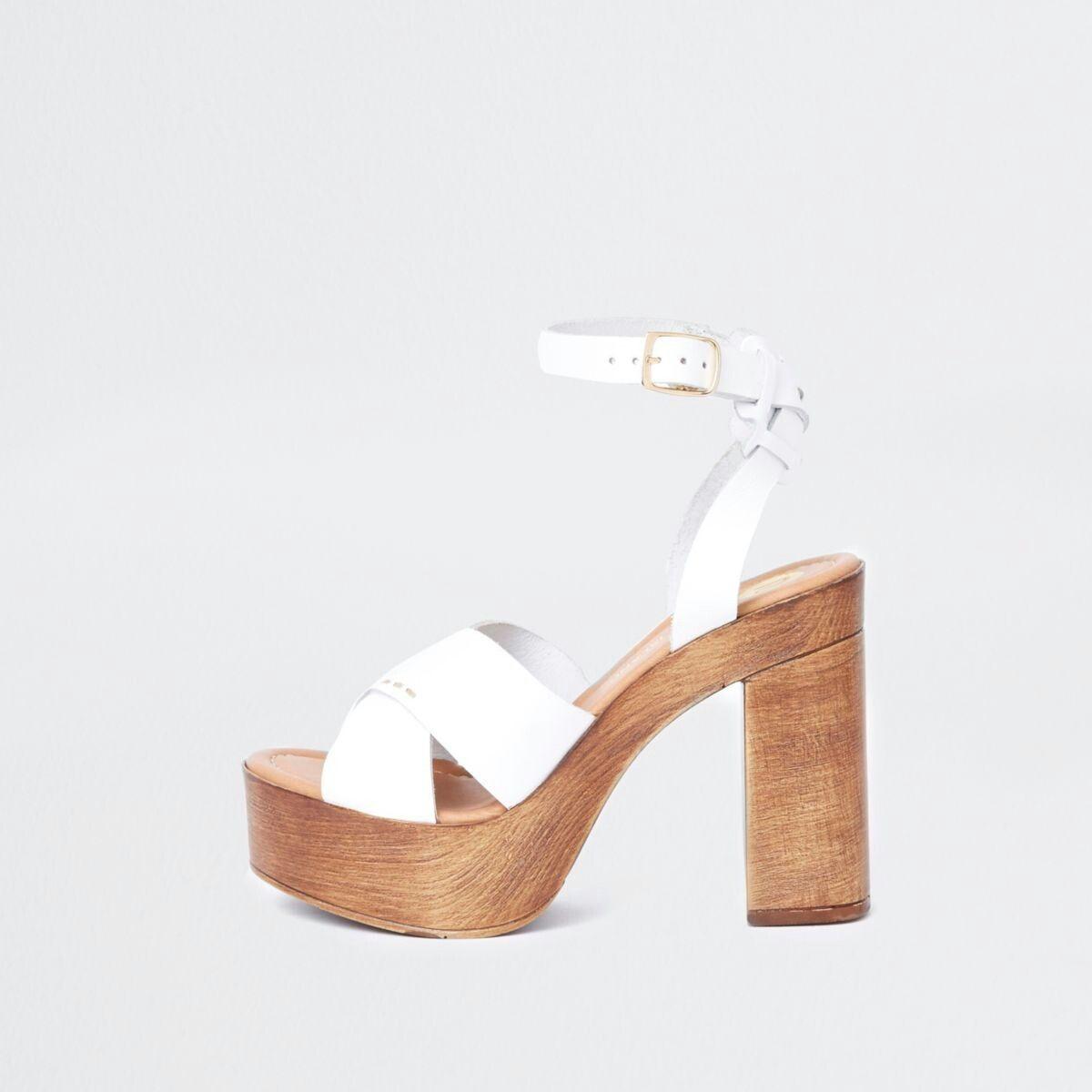 4709d9c0c4a White cross strap platform heel sandals
