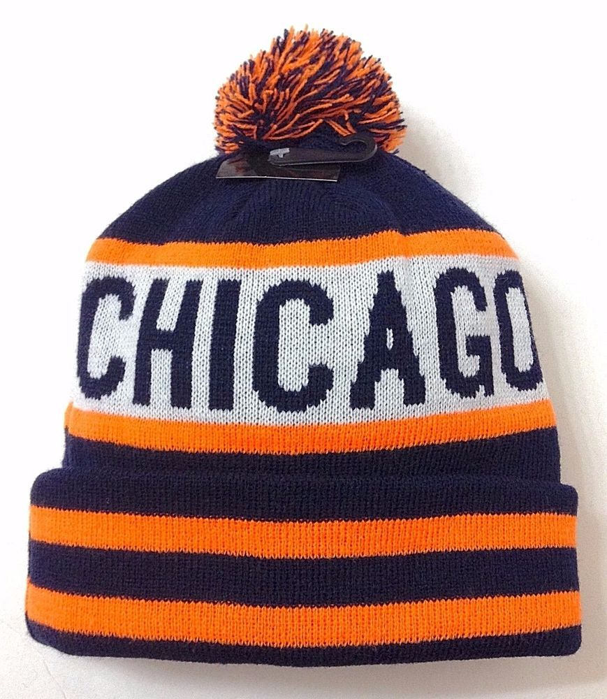 new CHICAGO POM BEANIE Bears-Colors NEON ORANGE Winter Knit Ski Hat Men  Women  KBTrading  Beanie 9cfdc410f23a