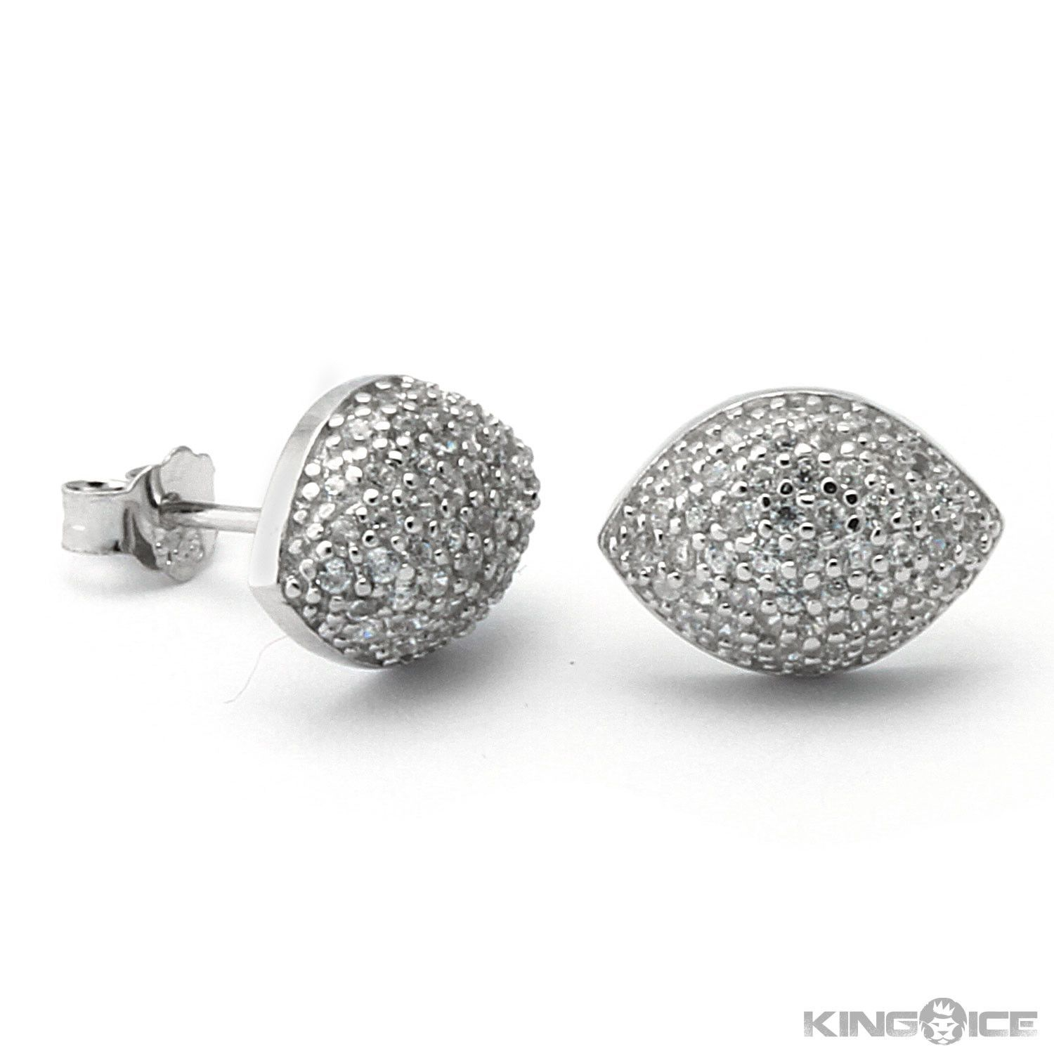King Ice 925 Silver Oval Dome Iced Out Earrings