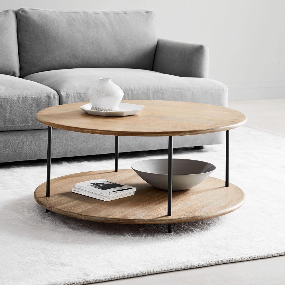 Midcentury art display round coffee table cloud west