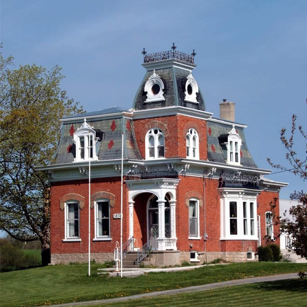 Old Home Living On Instagram Stunning Second Empire House Circa 1874 Bloomfield Ontario Current Home Of Kinsip In 2020 Empire House Old Houses Victorian Homes