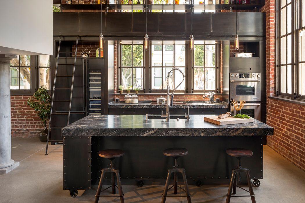Cuisine r tro loft recherche google cuisine d co - Maison industrielle ...