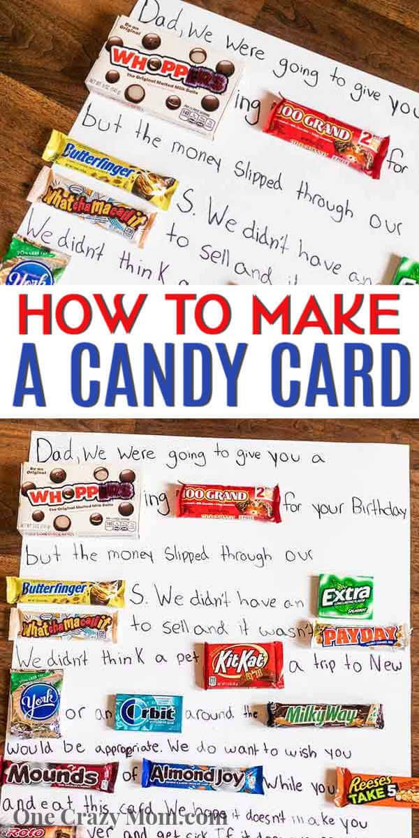 Candy Card - learn how to make a diy candy birthda