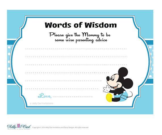 Blue White Boy Mickey Mouse Words Of Wisdom By Adlyowlpartyprints