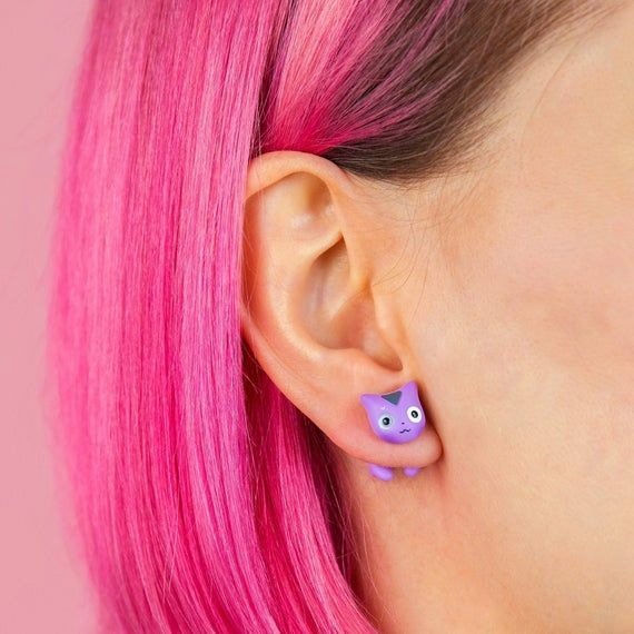 LGBTQ Demisexual Polymer Clay Earrings – Gray | Purple | White | Cat Jewelry – Gift for Cat Lovers, Cute Accessories Kitten Earrings