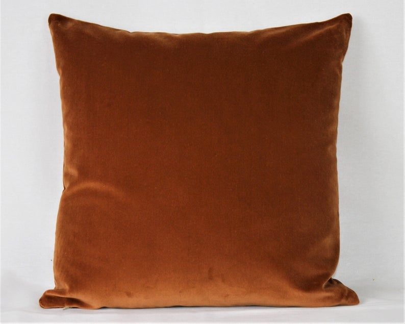 Orange Brown Velvet Chocolate Cinnamon Burnt Orange Taupe Brown Beige Rust Brick British Cotton Velvet Cushion Cover Square Rectangle Lumbar Velvet Cushions Green Velvet Pillow Cotton Velvet