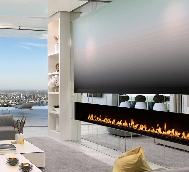 """Fireplace And Tv Recessed On Accent Wall: 100"""" Recessed Electric Fireplace"""