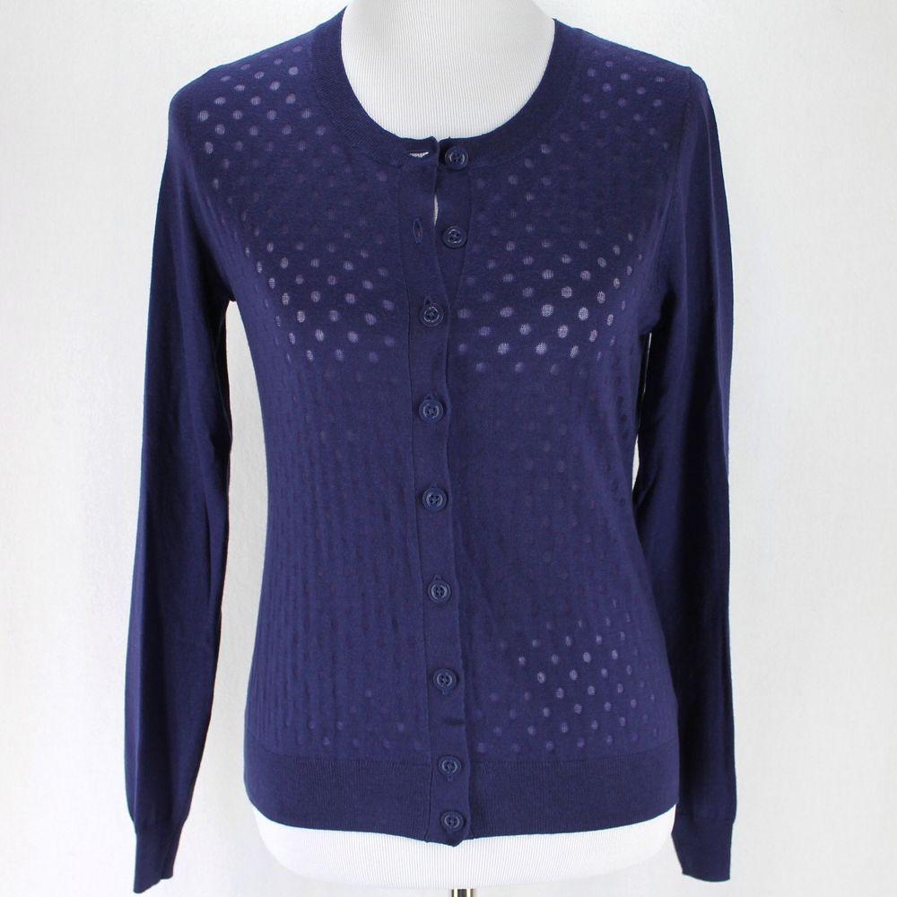 7d5e43dcdfb Banana Republic Cardigan Sweater Sz M Dark Purple Dots Lightweight ...