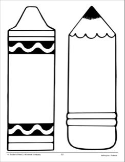 Crayon and pencil large pattern school activities for Crayon labels template