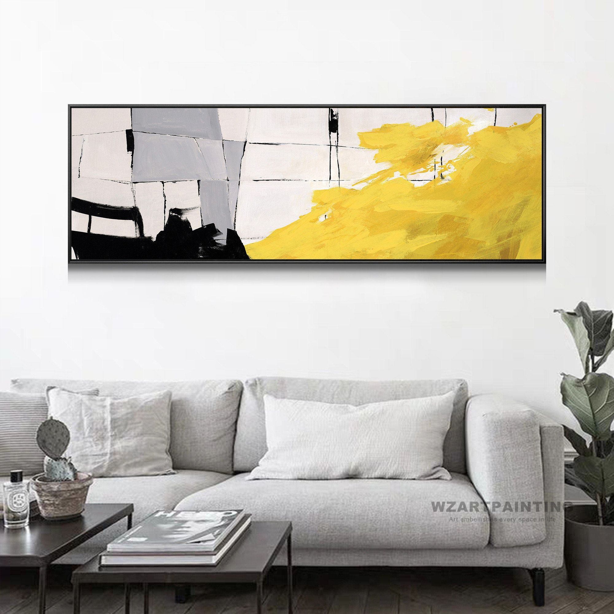 Abstract Grey Yellow Paintings Art Leinwand Print Wall Pictures Officce Home