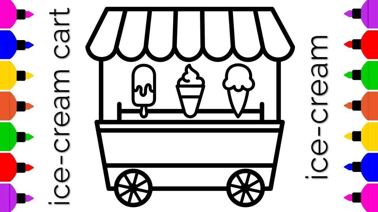 How To Draw Ice Cream Cart Ice Cream Truck Ice Cream Painting For Ice Cream Cart Ice Cream Truck Ice Cr Ice Cream Cart Ice Cream Painting Ice Cream Truck