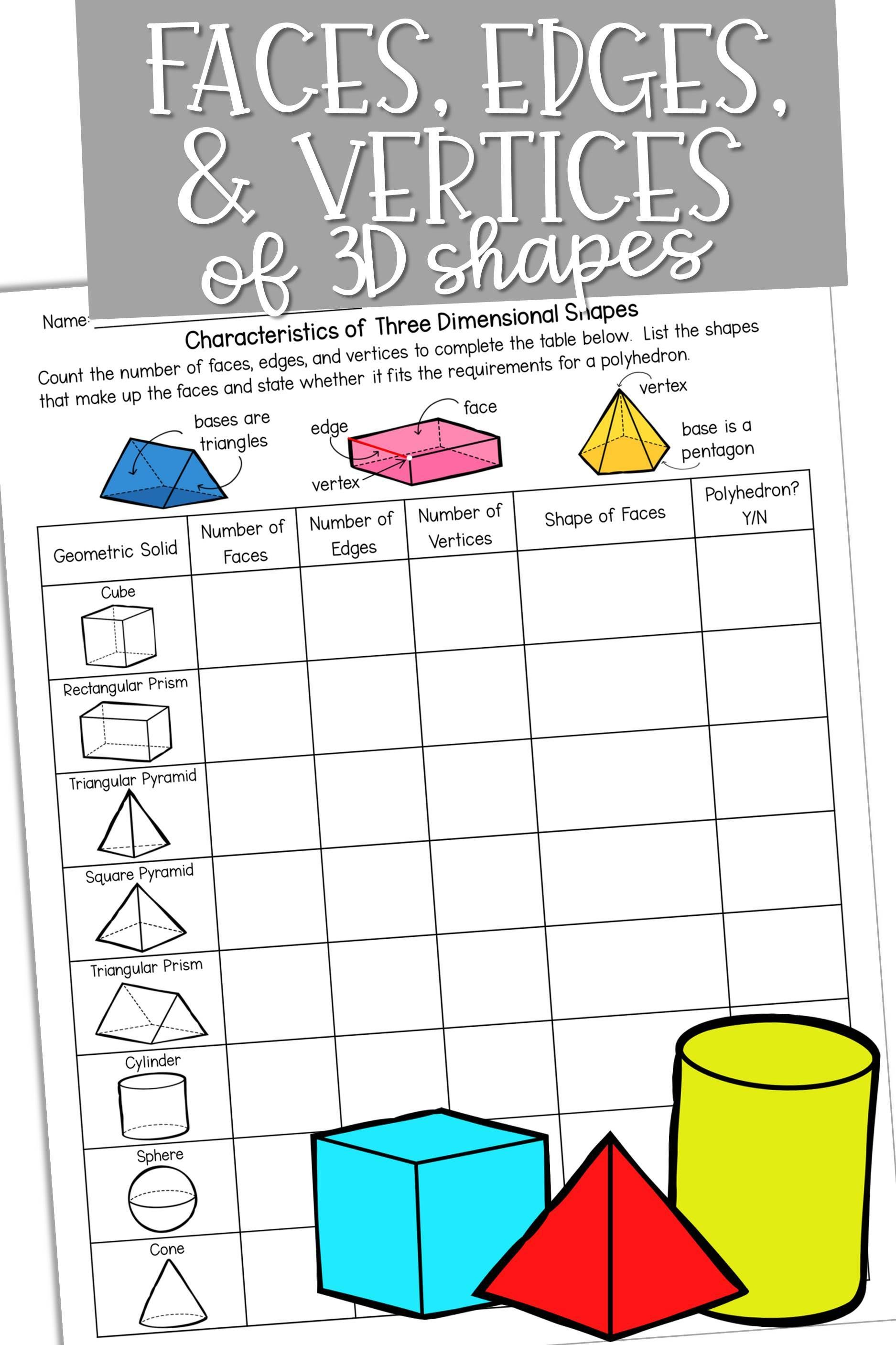 Identify The Number Of Faces Edges And Vertices Of Three Dimensional Shapes Math 3dshapes Polyhedron Dimensional Shapes Math Geometry Geometry Worksheets