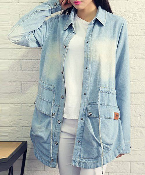 Drawstring Denim Coat