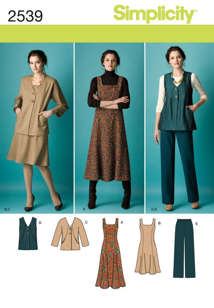 Simplicity Pattern 2539 Misses and Plus Size Pinafore Dress Jacket ...