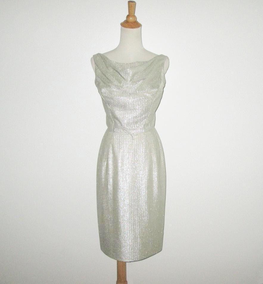 Vintage s dress s silver metallic dress s sleeveless