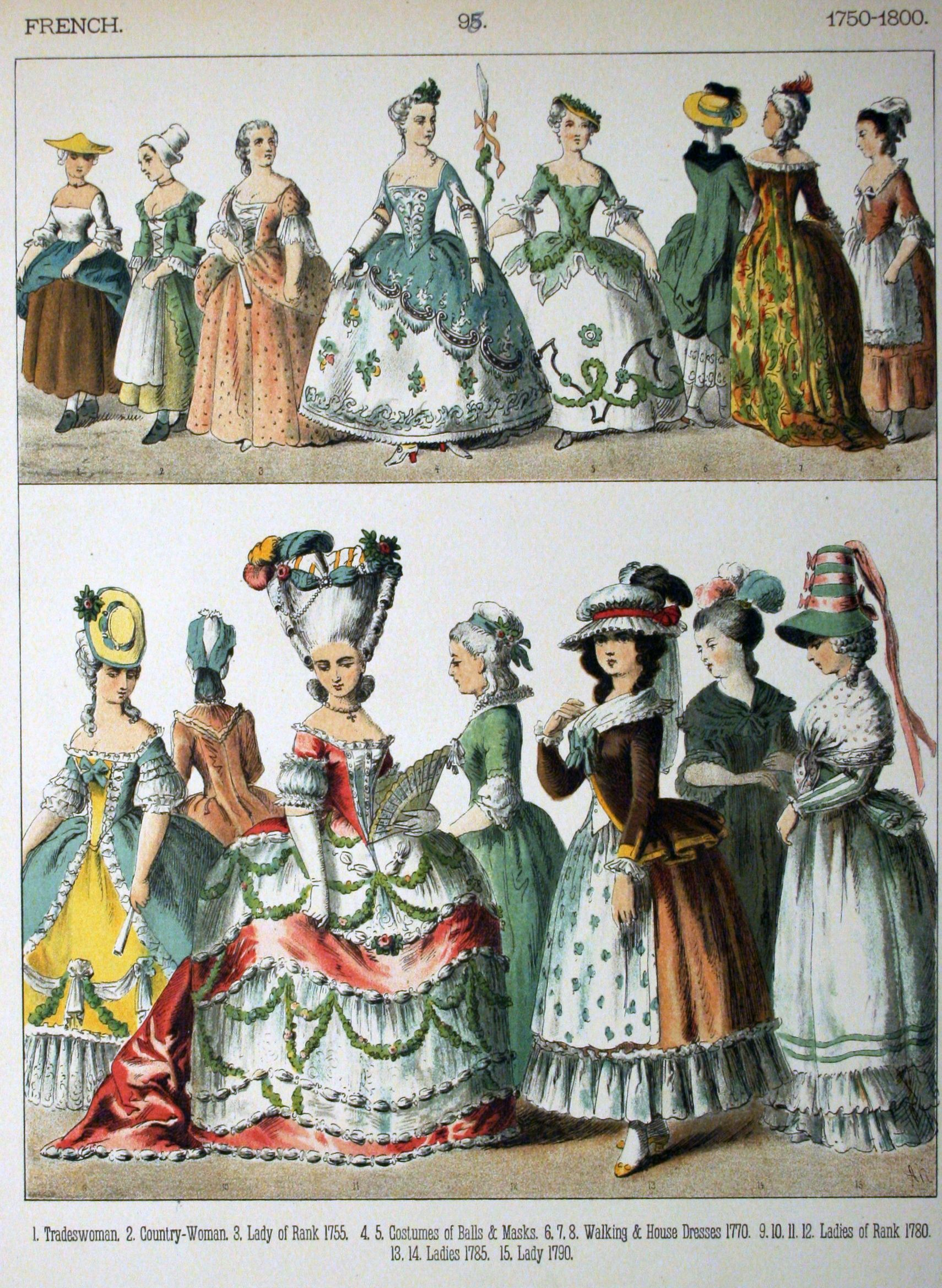 Plate 98 Rococo Period 1750 1800 French Women Costumes Of All Nations 1882 By Albert Kretschmer Historical Costume Rococo Fashion 18th Century Costume