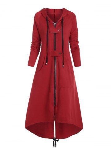 Plus Size Buckle Front Pocket High Low Long Coat