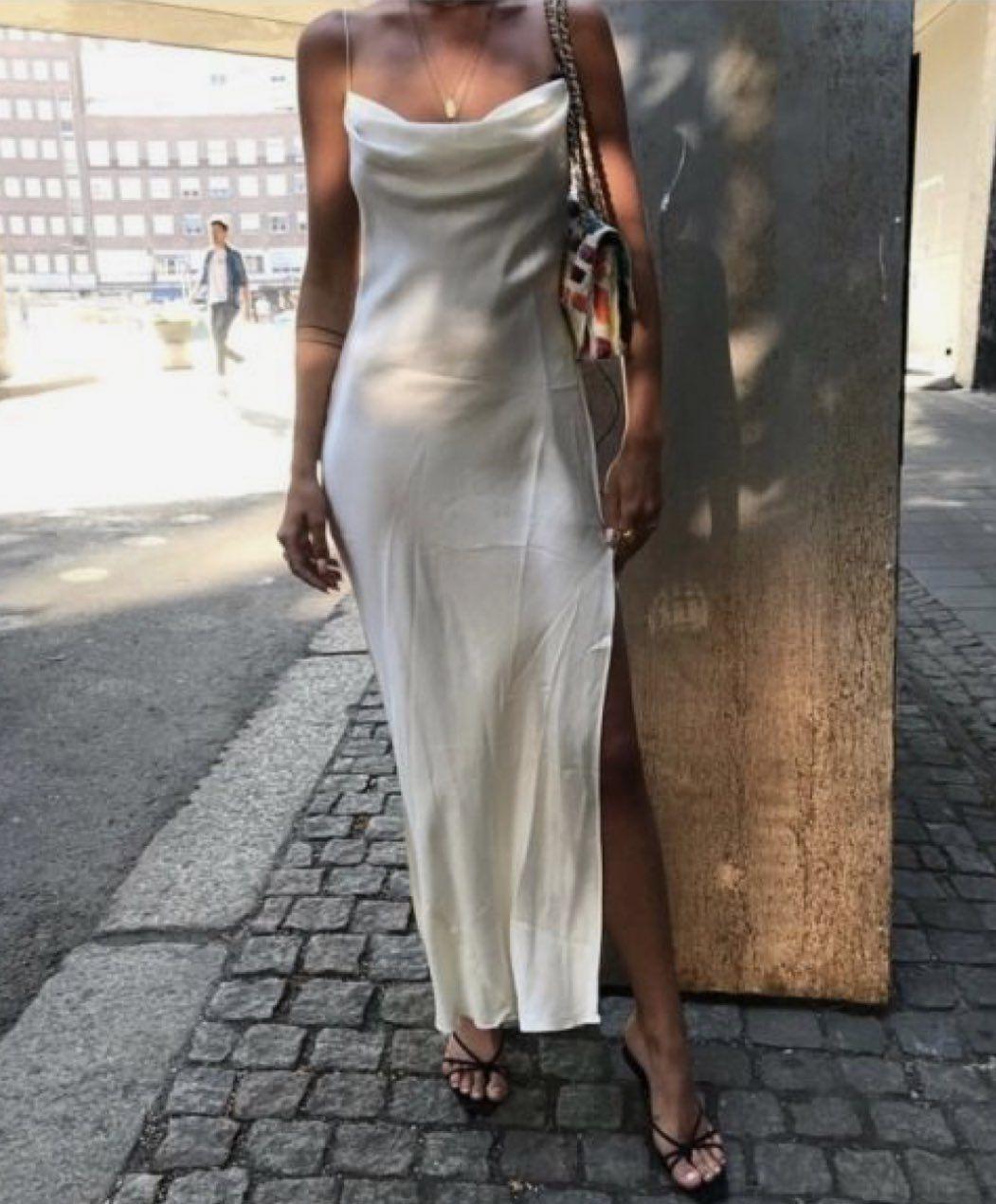 On Twitter Fashion White Satin Dress City Outfits [ 1271 x 1051 Pixel ]