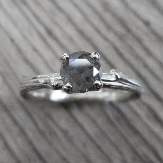 Grey Rustic Diamond Twig Ring: White Gold, Prong Setting, .68ct on Etsy, $1,275.00