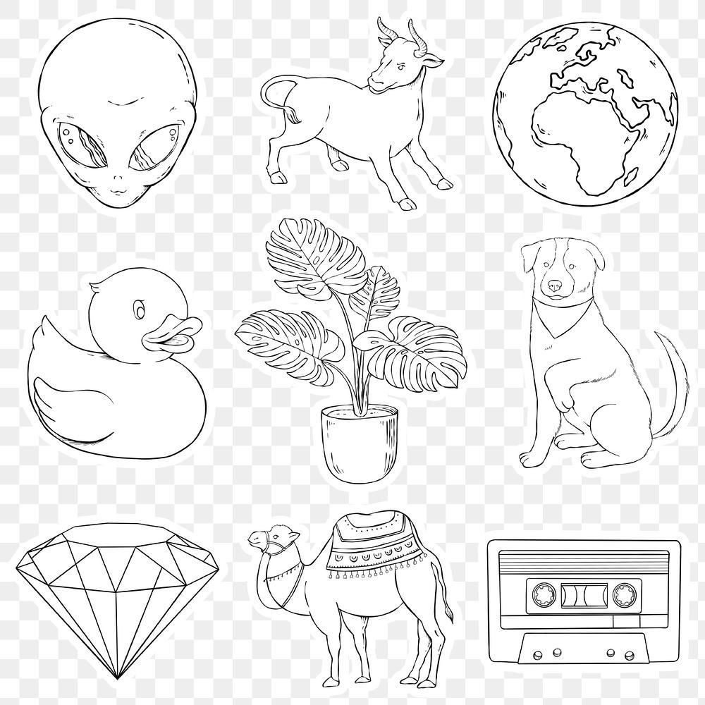 Sticker Black And White Png Set Free Image By Rawpixel Com Noon Drawing Set Cool Stickers How To Draw Hands