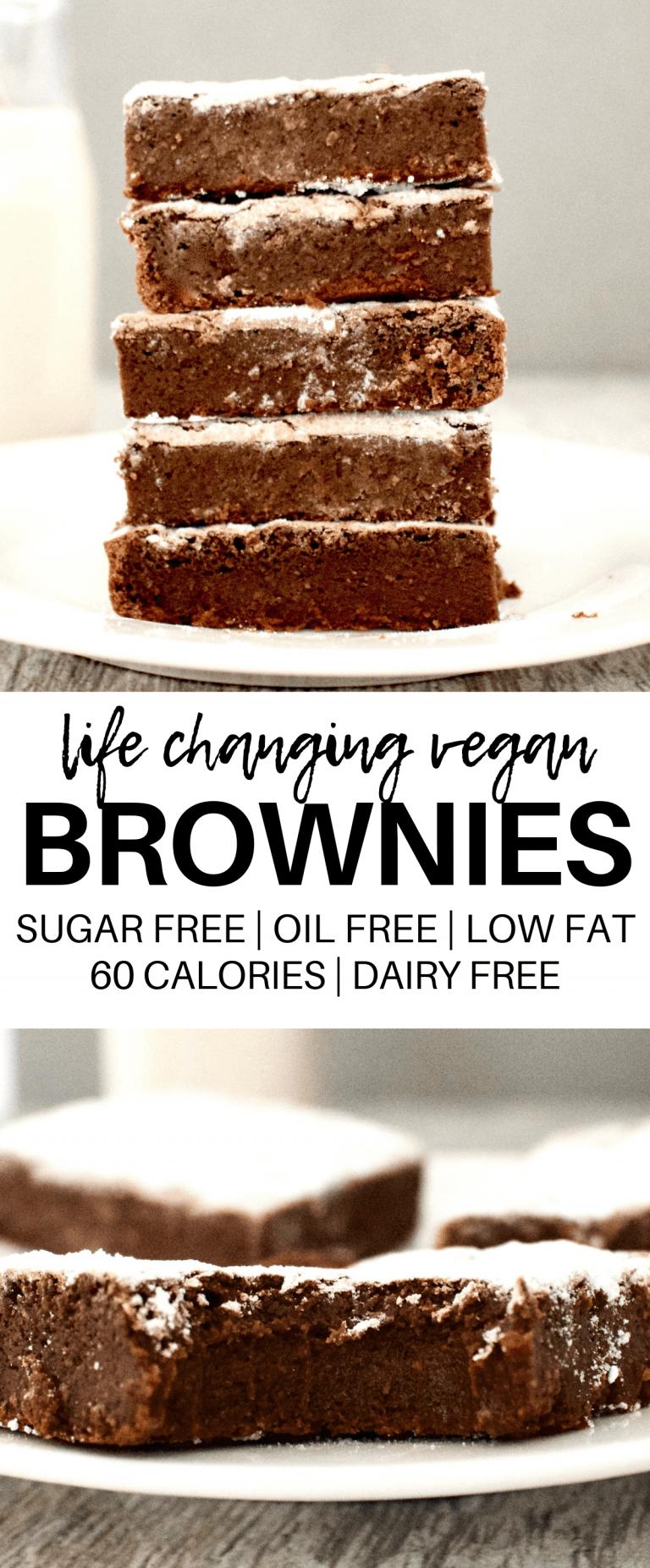Vegan Fudge Brownies (Low-Calorie + Gluten-Free +